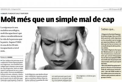 Nova pàgina de promoció de la salut: ''Molt més que un simple mal de cap''