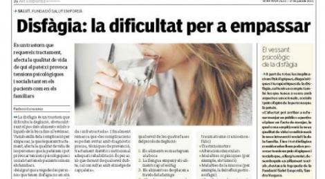 Nova pàgina de promoció de la salut: ''Disfàgia: la dificultat per a empassar''